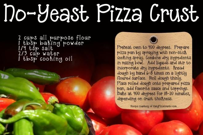 No Yeast Pizza Crust Breads Pizza And Calzones Pinterest