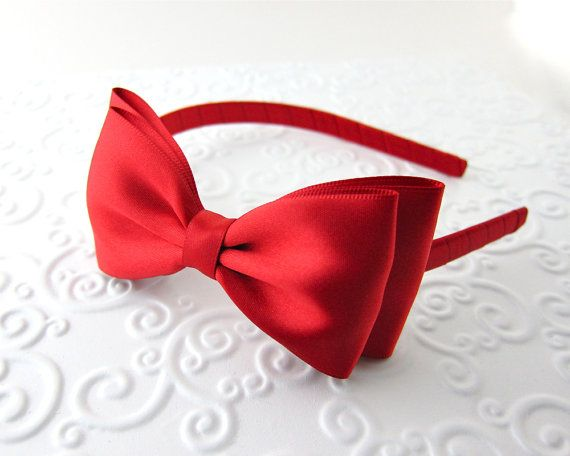 Red Layered Satin Bow Headband Snow White