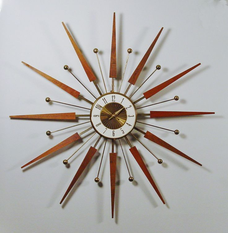 mid century modern starburst wall clock by elgin atomic