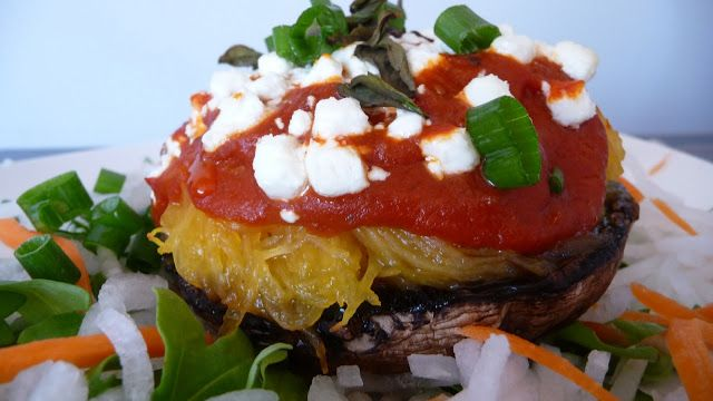 ... with Spaghetti Squash and Topped with Goat Cheese & Fresh Basil