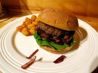 ... Bon Appetit's Bison Burgers with Cabernet Onions and Wisconsin Cheddar