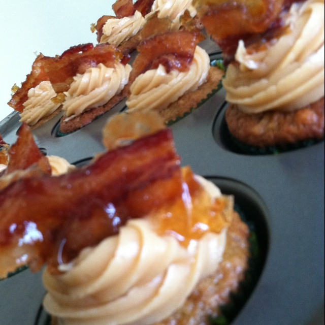... cupcake - banana cupcake, peanut butter frosting, and candied bacon