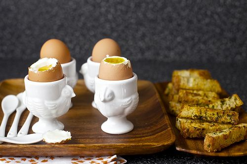 Soft-boiled eggs with buttery herb-gruyere toasts. Mostly pinning for ...