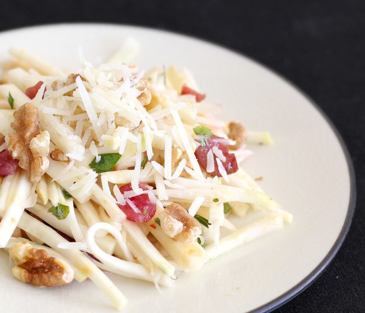 Celery Root Salad with Parmesan, Toasted Walnuts and Dried Cranberries