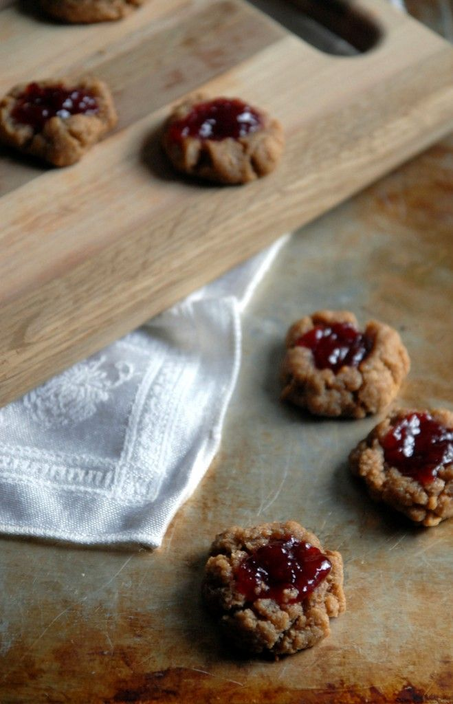 Peanut Butter and Cherry Jam Thumbprint Cookies | Recipe