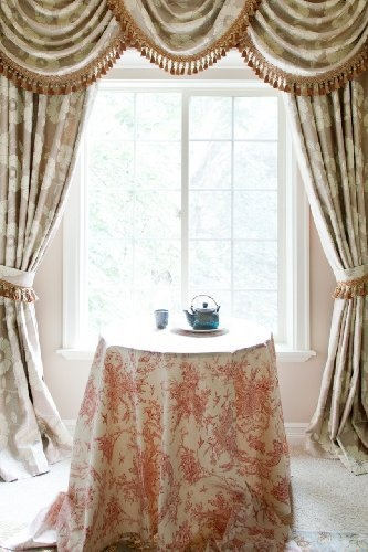 """Green Camellia"""", Luxury Valance Curtain Set with Swags and Tails, 100 ..."""