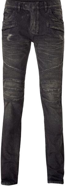 Balmain  Destroyed Denim Pants in Gray (grey)