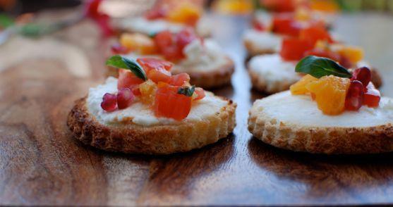 Honey Goat Cheese Crostini with Tomato Orange Basil Salsa and Crispy ...