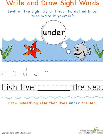 Worksheets: Write and Draw Sight Words: Under