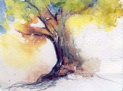 Watercolor art My Tree  climbing tree love tree by CheyAnneSexton, $20.00