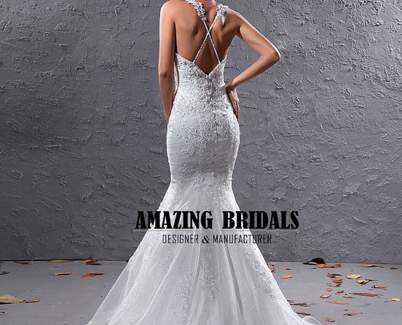 Sexy low v back sweetheart neckline beaded cris cross for Cross back wedding dress