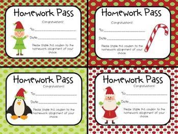 Free printable homework pass christmas