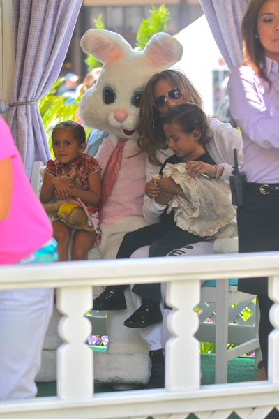 Jennifer Lopez and Casper Smart take twins to meet the Easter Bunny