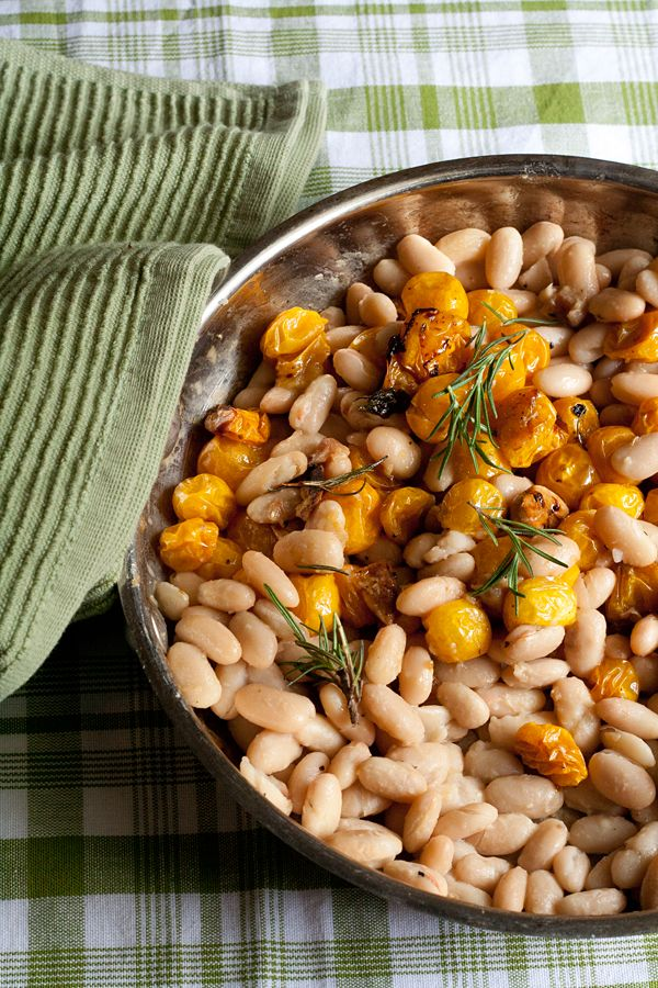 Stewed White Beans With Tomatoes And Rosemary Recipe — Dishmaps