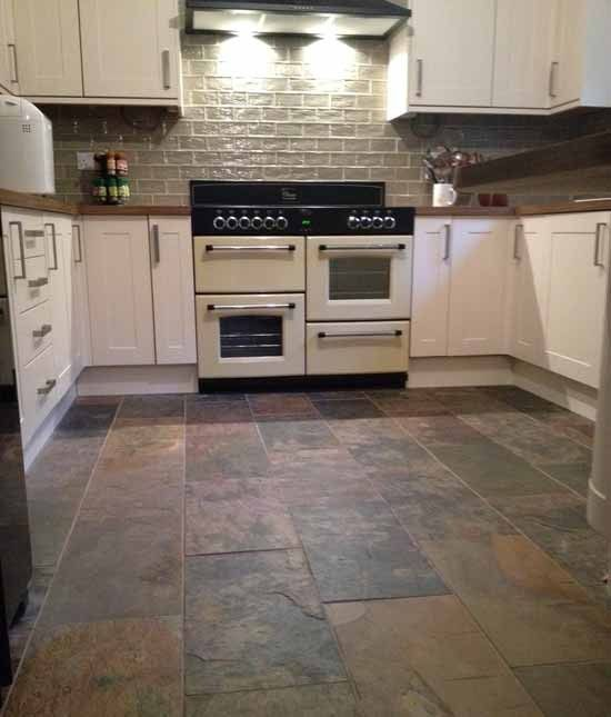 Slate flooring with white cabinets the White kitchen floor tile ideas