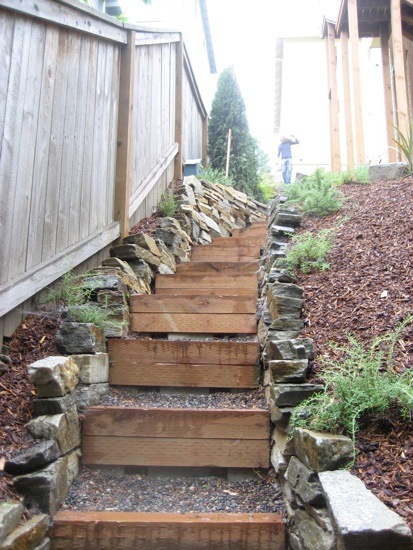 Idea for the backyard  steps to a tiered garden