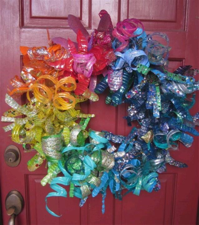 Plastic bottle wreath handmade crafts pinterest for Crafts using plastic bottles