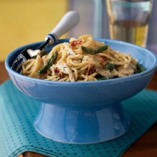 ... lightened-up pasta carbonara. It becomes main-dish worthy with the