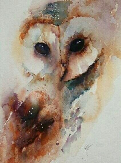 Love this watercolor owl tattoo for Watercolor owl tattoo