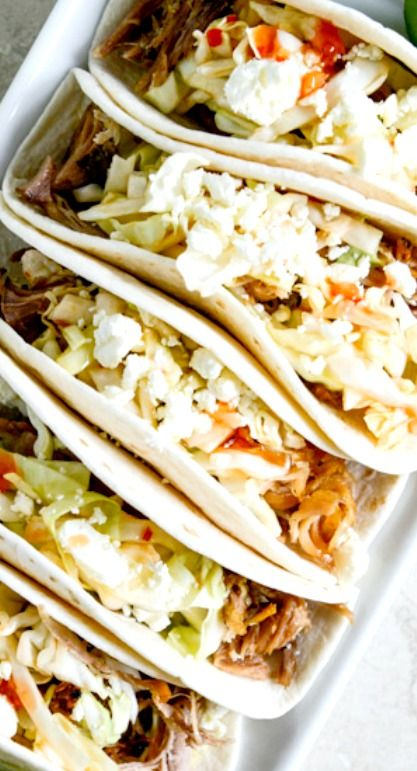 Shredded Chicken And Tomatillo Tacos With Queso Fresco Recipes ...