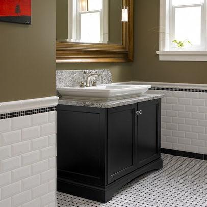 Beveled Subway Tile With Black Accent Full Bath Pinterest
