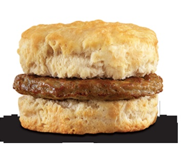 Sausage Biscuit-A juicy sausage patty served on a warm, freshly baked ...