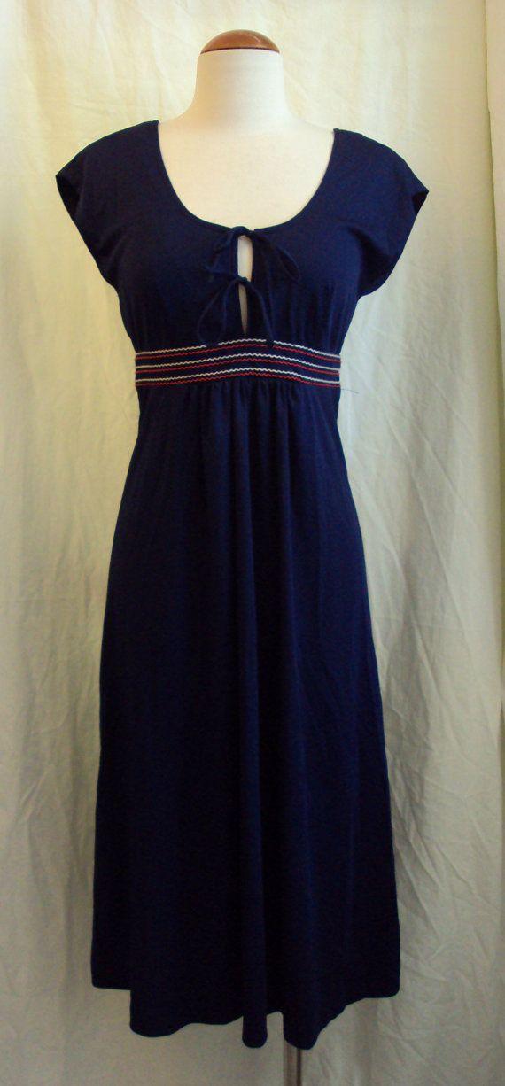 1970s jody of california navy summer day dress