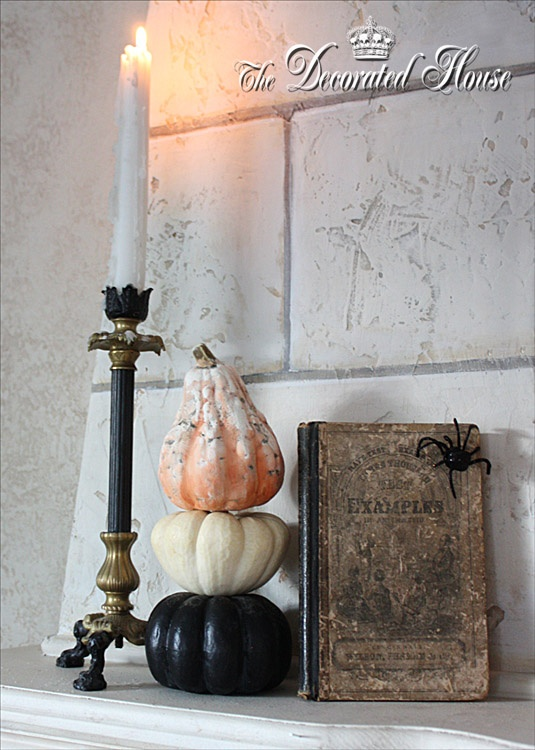 Mini Pumpkin Topiary with faux pumpkins by The Decorated House