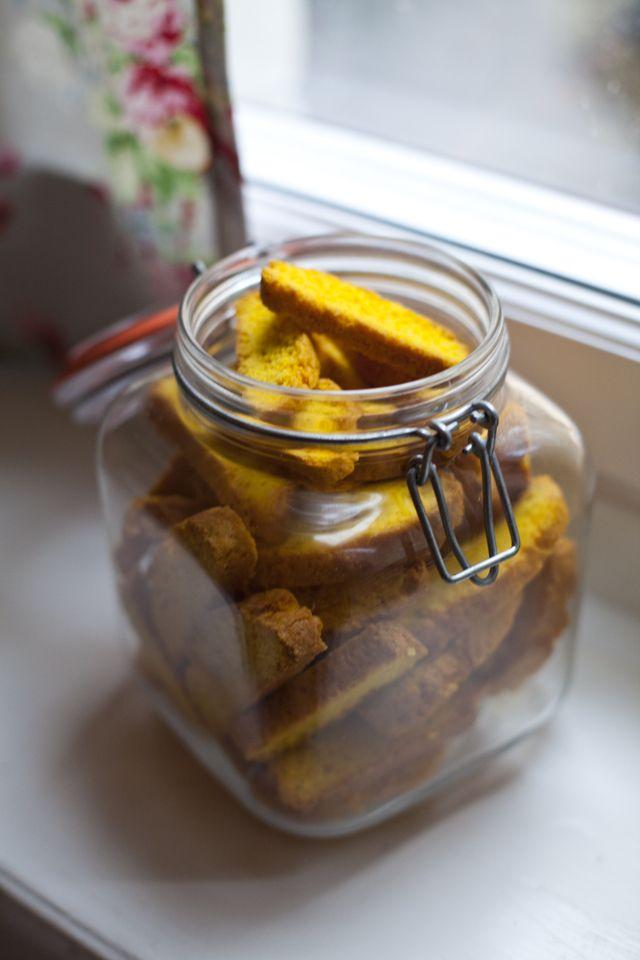 Saffron Biscotti (Saffranskorpor). Ingredients: butter, saffron ...