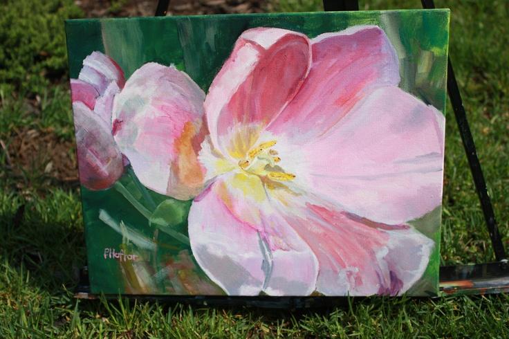 Little, One of a Kind, acrylic,Pink Tulips.www.patriciahaftar.com, www.etsy.patriciahaftar.com