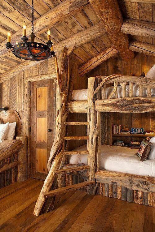 Log cabin bunk beds log cabin ideas pinterest for Log cabin style bunk beds