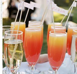 Red Velvet -    2 oz. orange juice,  4 oz. champagne,  3/4 oz. grenadine
