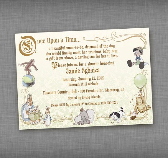 printed vintage storybook baby shower by goodluckcharmdesigns