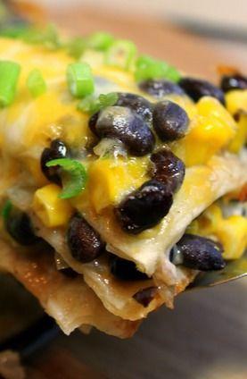 Tortilla and Black Bean Pie   je mange, tu manges   Pinterest
