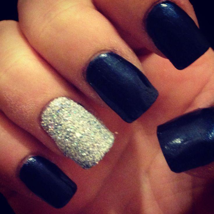 Blue & Silver Glitter Shellac | Nails | Pinterest