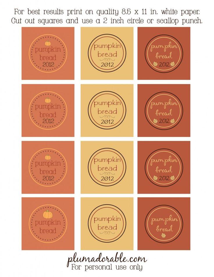 Pumpkin bread printable labels 2012 printables pinterest