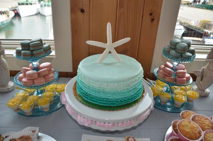 mermaid baby shower starfish cake