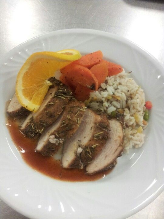 thyme and rosemary roasted chicken rice pilaf and honey glazed carrots ...