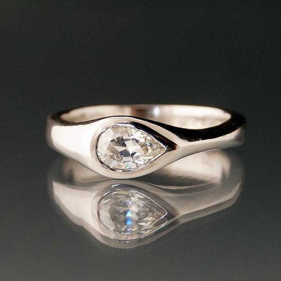Moissanite Tear Drop Engagement Ring Rings