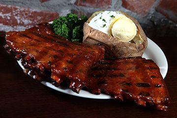 Hickory Smoked Ribs & Loaded baked potato | Santa Fe Cattle Co. Best ...