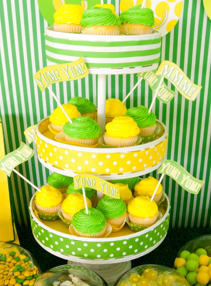 Green + yellow dessert table