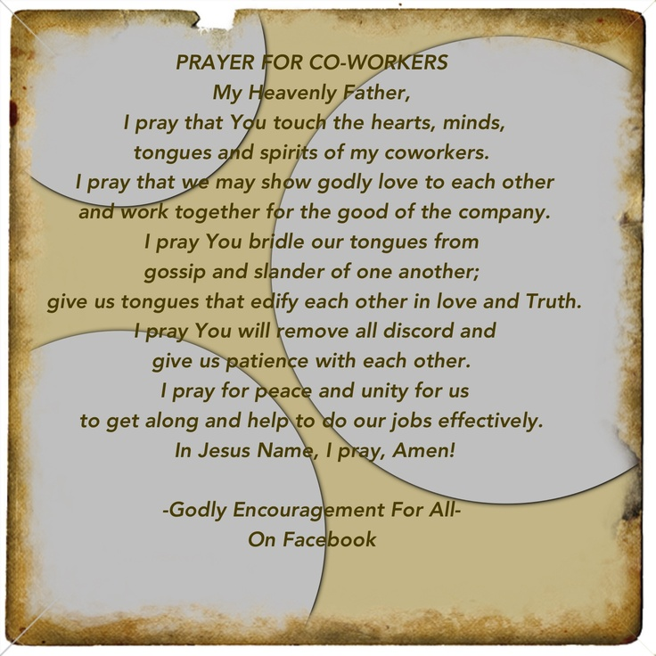 Prayer for co-workers | Biblically Speaking | Pinterest