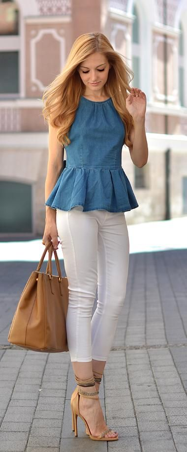 blue blouse and white jeans