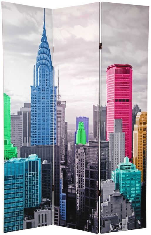 X 47 colorful new york scene 3 panel room divider for Asian furniture nyc