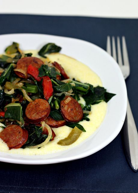 andouille with collards and polenta | Recipes to try | Pinterest