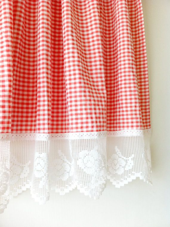 Vintage Red Gingham Check Cafe Curtain
