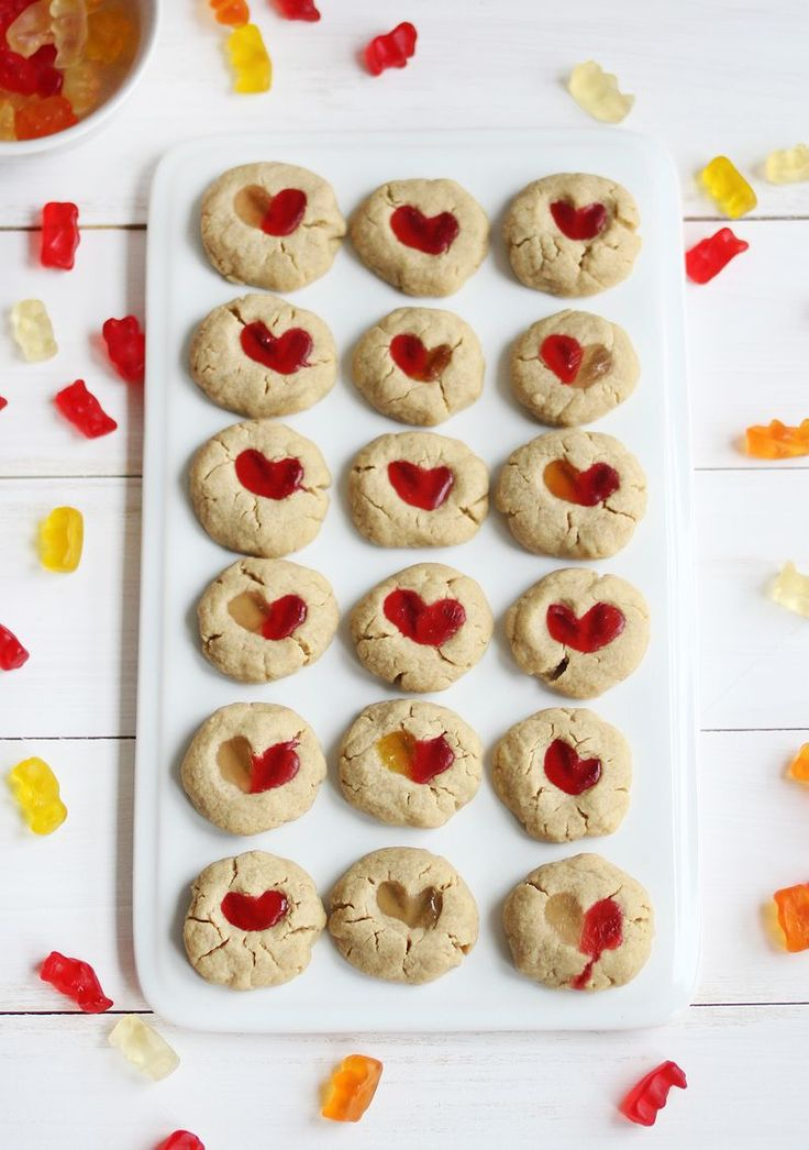 Gummy bear cookies: easy cheat for classic thumbprints with a Valentine's Day twist