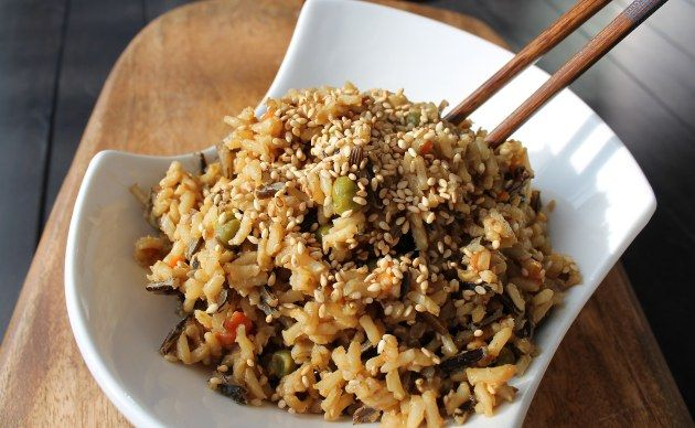 "Fried rice"" using brown & wild rice. 