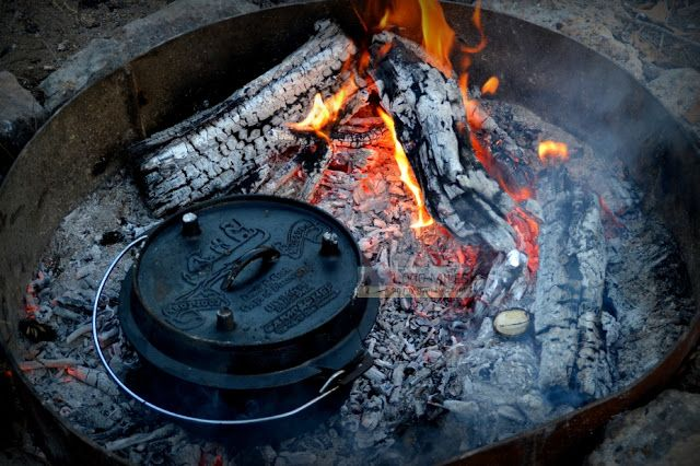 Campfire dutch oven jetsetnomad pinterest for How to cook in a dutch oven over a campfire
