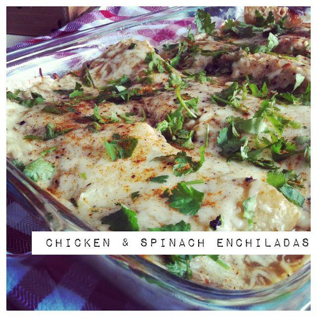 Chicken, Spinach & Black Bean Enchiladas | clean eating | Pinterest